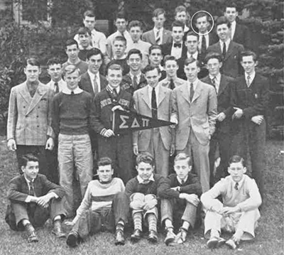 Jonathan, back row, second from right, with the Sigma Delta Pi in 1940